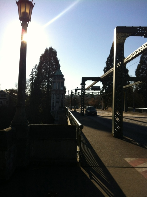 Across the Montlake Bridge and through the UW campus along the Burke-Gilman Trail.