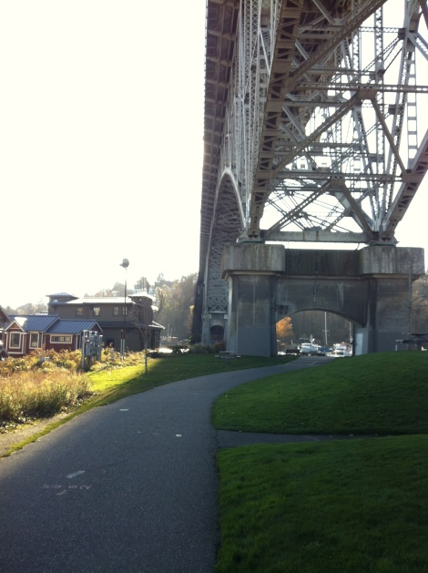 Under the I-90 bridge.