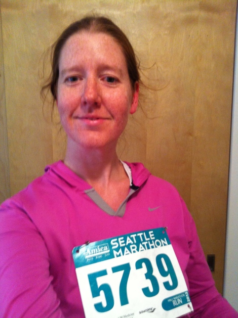 Had to take a post-run selfie with my official half-marathon bib.