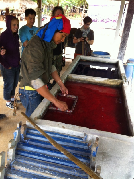 We visited the poo paper factory - yep that's paper made out of elephant poo. Volunteer Coordinator Ocha shows us how its done.