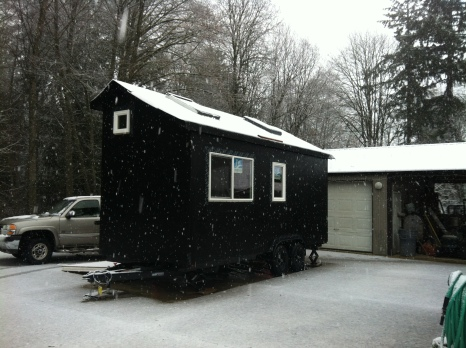 Snow on the tiny house.